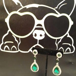 Emerald and Diamond Teardrop/Chandelier Earrings